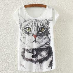 Tricou de dama cu imprimeu pisica