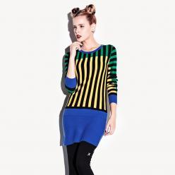 Pulover rochie tricotata - colorata, cu dungi