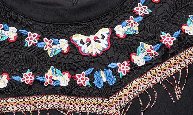 Rochie neagra cu broderie colorata XL XXL calitate