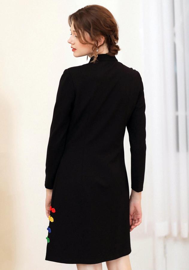 Rochie neagra cu broderie colorata XL XXL