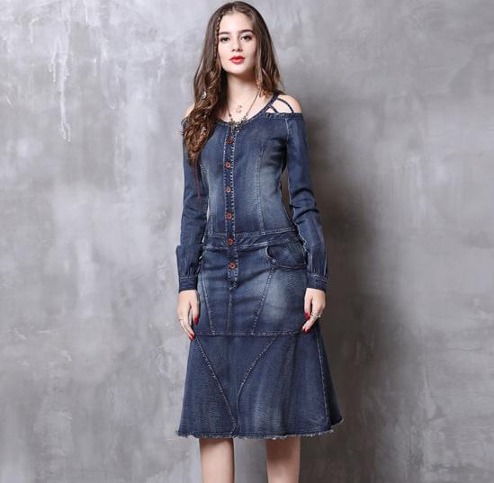 Rochie jeans midi magazin online
