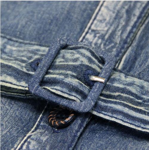 Rochie denim jeans lunga midi cu broderie