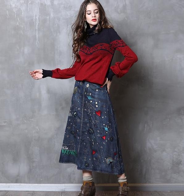 Fusta jeans blugi rochii broderie colorata