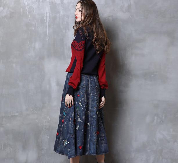 Fusta denim rochii broderie colorata