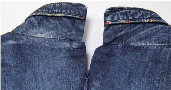 Rochie denim jeans blugi cu broderie