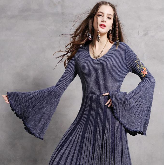 rochie boho hippie tricot midi evazata