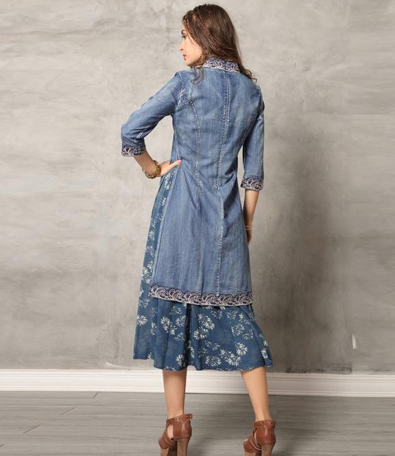 Rochie blugi denim jeans bumbac midi boho hippie