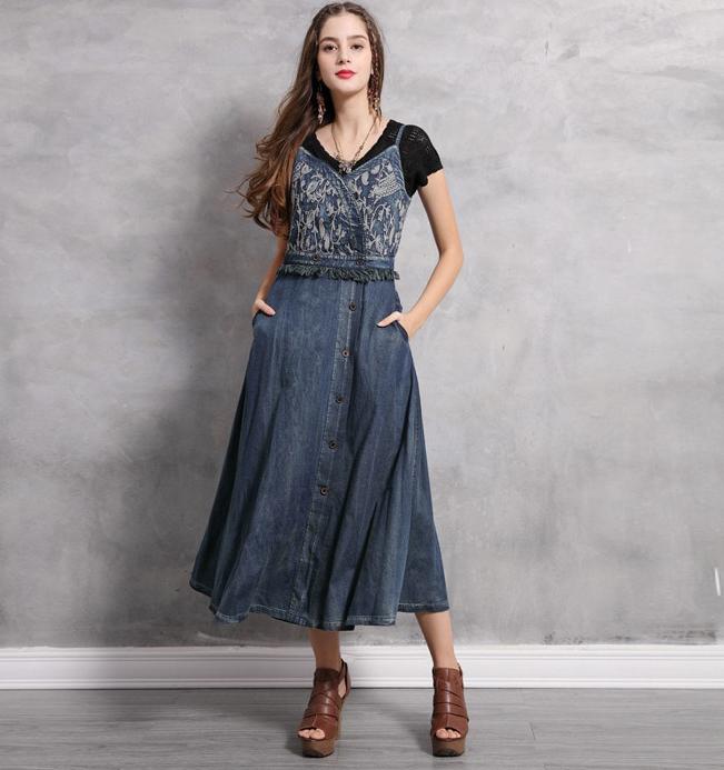 rochie denim jeans blugi cu broderie florala decorativa bretele lunga midi
