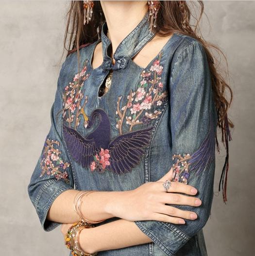Rochie denim jeans blugi broderie florala
