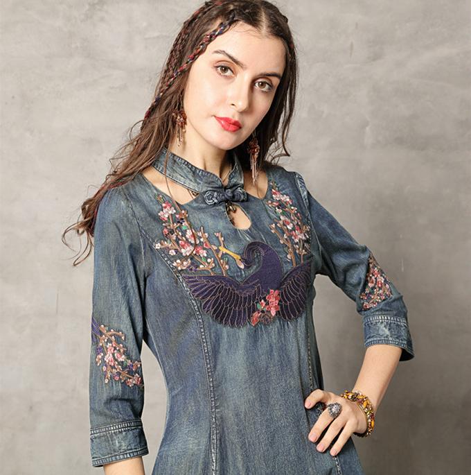 Rochie denim blugi jeans boho chic hippie