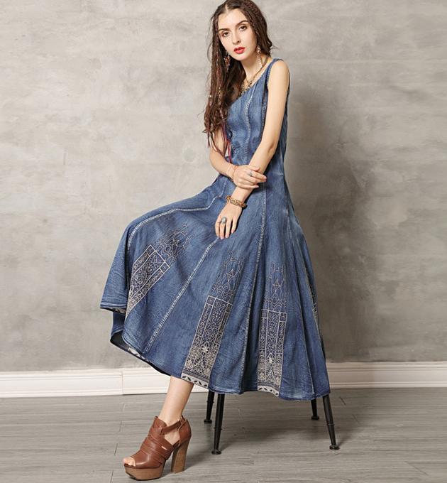 Magazin de rochii din jeans denim blugi boho hippie