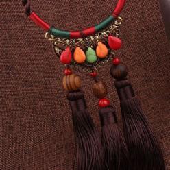 Colier etnic handmade tassel