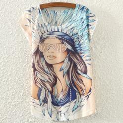 Tricou pentru femei cu maneci scurte cu imprimeu color
