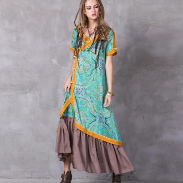 Rochie petrecuta lunga colorata de inspiratie kimono
