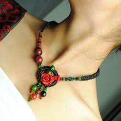 Colier handmade boho agat si turcoaz