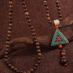 Colier handmade boho etnic triunghi pietre si lemn