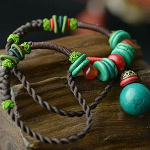 Colier handmade noduri boho agat si turcoaz