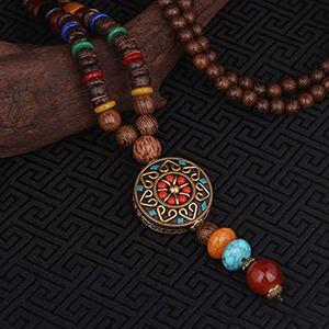 Colier handmade etnic turcoaz agat lemn de santal boho