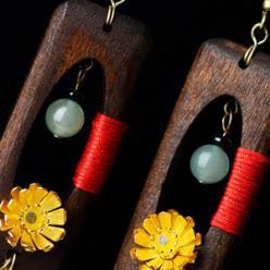 Cercei handmade lemn