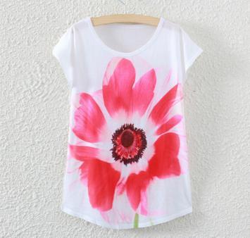Tricou cu maneci scurte pentru femei cu imprimeu colorat floare rosie