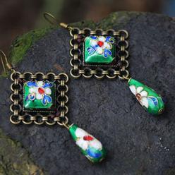 Cercei handmade etnic piatra naturala