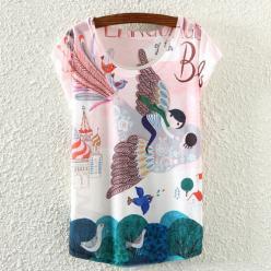 Tricou femei cu maneci scurte de vara cu imprimeu color fantezie