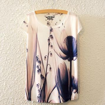 Tricou pentru femei cu imprimeu color floral x-ray