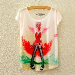 Tricou dame cu imprimeu colorat
