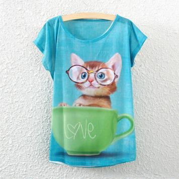 Tricou cu maneci scurte pentru femei cu imprimeu pisica in canita