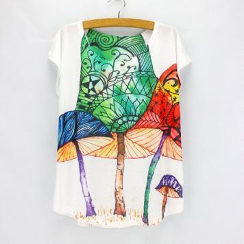 Tricou cu maneci scurte pentru femei cu imprimeu colorat ciuperci