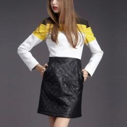 Rochita fashion cu maneci lungi, cambrata, alb negru cu dunga galbena