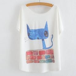 Tricou femei imprimeu pisica pe caramizi