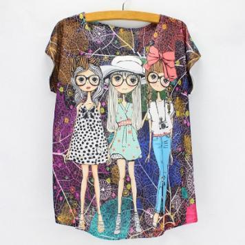 Tricou femei cu imprimeu colorat fashion