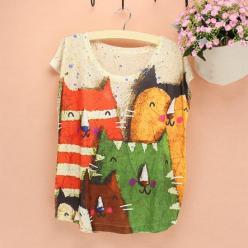 Tricou femei cu imprimeu colorat pisici picturale
