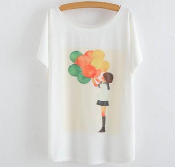 Tricou bluza femei cu imprimeu baloane maneci liliac