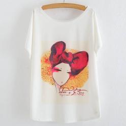 Tricou bluza cu imprimeu portret funda rosie