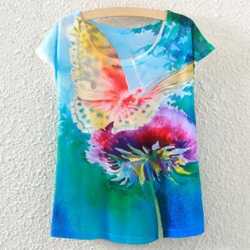 Tricou pentru femei cu imprimeu colorat fluture si floare
