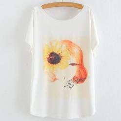 Tricou bluza pentru femei cu maneci liliac si imprimeu portret portocaliu