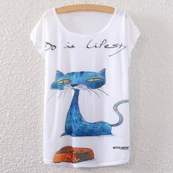 Tricou femei cu imprimeu pisica