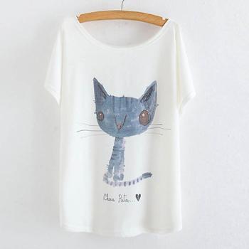 Tricou cu imprimeu pisica Rita