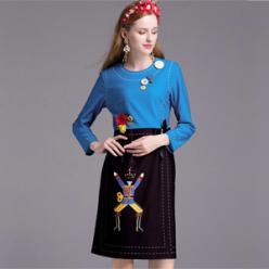 Rochie fashion cu maneci lungi, imprimeu, aplicatii nasturi si margele