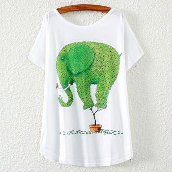 Tricou imprimeu colorat elefant frunze