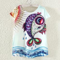 Tricou imprimat colorat peste