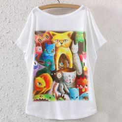Tricou imprimeu colorat animale