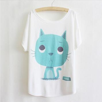Tricou imprimeu pisica albastra