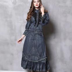 Rochie lunga din jeans cu broderie dantelata aplicata