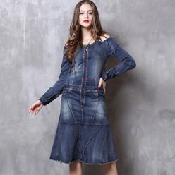 Rochie midi din jeans cu bretele decorative