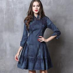 Rochie jeans denim cu broderie decorativa si borduri decorative