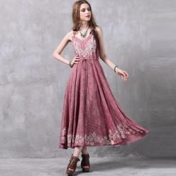 Rochie lunga cu bretele si broderie decorativa flori