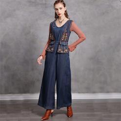 Salopeta jeans denim cu broderie decorativa